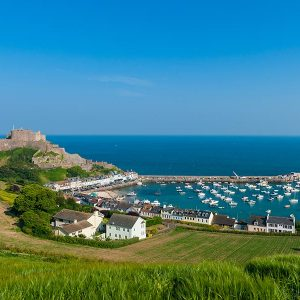 Harbour and Gorey Castle in Saint Martin Jersey
